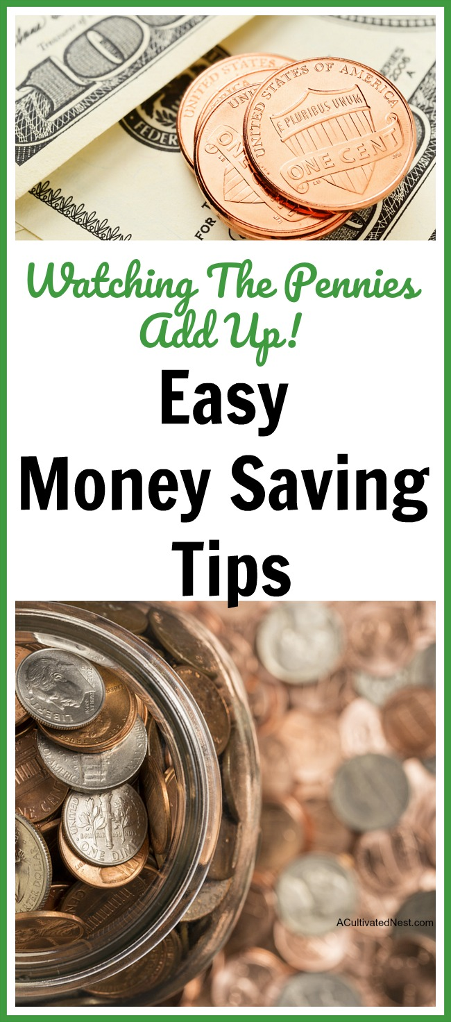 Look after the pennies, and the dollars will look after themselves! Here are some easy money saving tips that I do and some that were shared by readers of my blog. Frugal living, living on a budget, frugal homemaking, personal finance