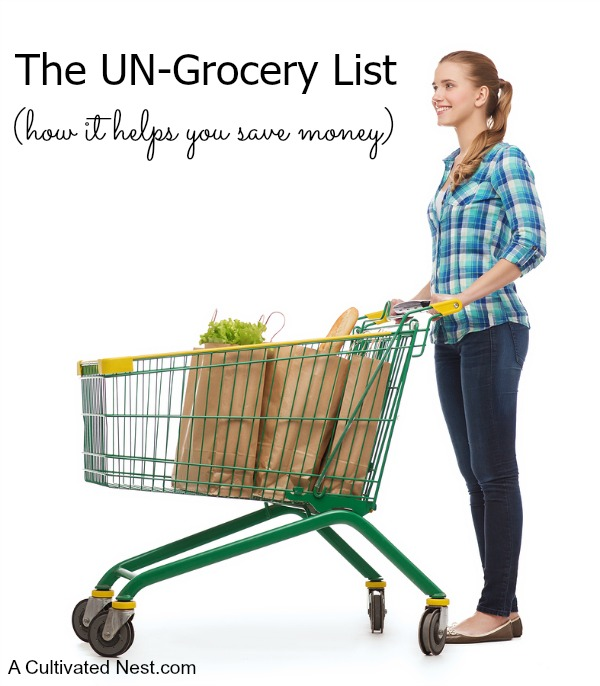 The Un-Grocery List- The Un-Grocery List / Un-Shopping List is a great money saving motivational tool! It's a list that you make of all the products that you would no longer buy for various reasons. Here's how to make your own Un-Shopping List, plus DIYs and recipes for the products you won't be buying anymore! | #frugalLiving #saveMoney #moneySavingTips #moneySavingIdeas #frugal #shopping