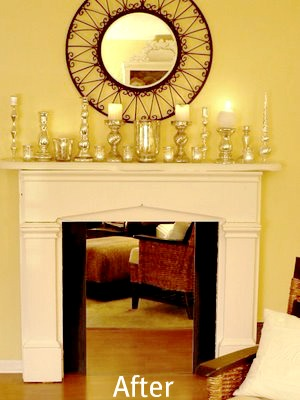 painted fireplace mantel