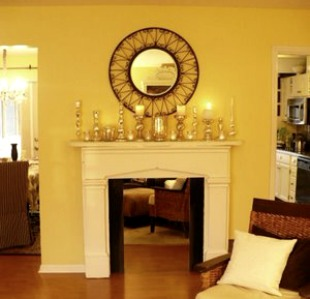 fireplace with white painted mantel