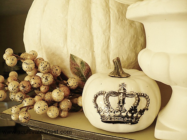 Decorating white pumpkins - crown decal pumpkin