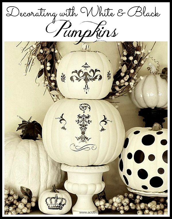 Decorating with white and black pumpkins