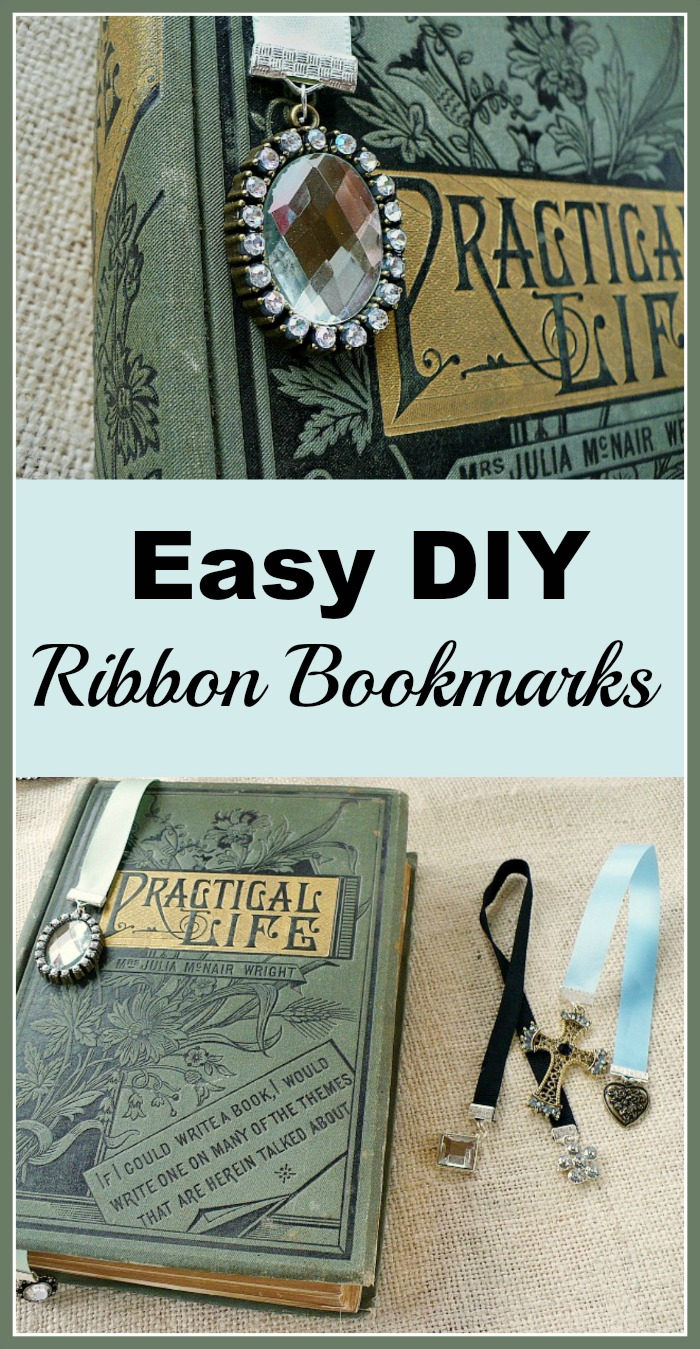 Easy DIY Ribbon Bookmarks - Add some pretty bling to your bookcase with this easy project. They make beautiful gifts too