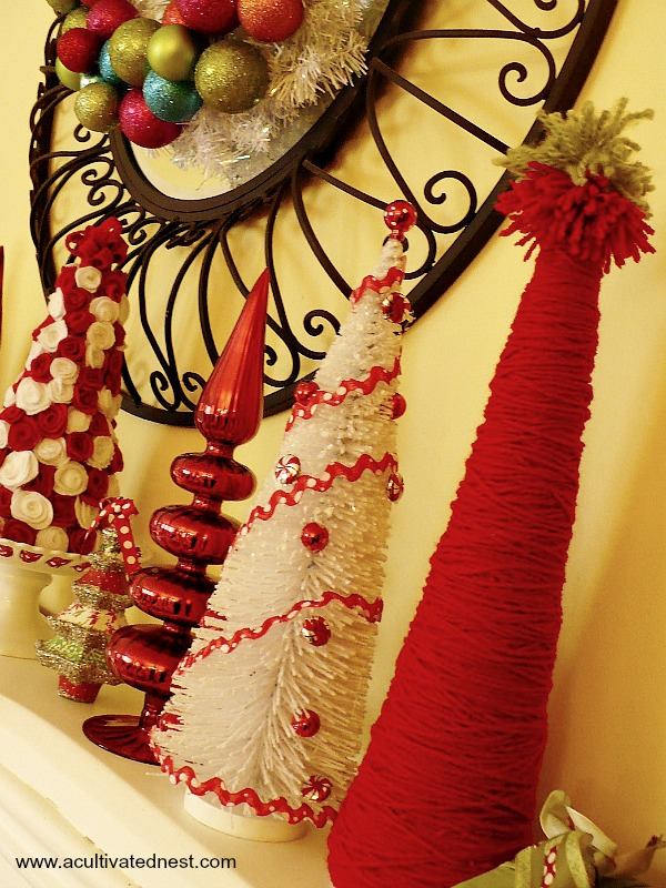 Cute DIY red yarn trees | Fun Christmas Mantel
