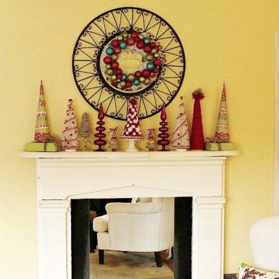 Colorful Christmas mantle - all DIY Crafty trees made out of paper and felt
