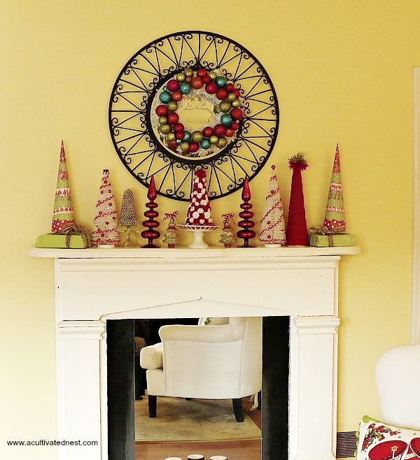 Colorful Christmas mantle - DIY Christmas Decorations - lots of handmade trees (made from paper, felt and yarn)