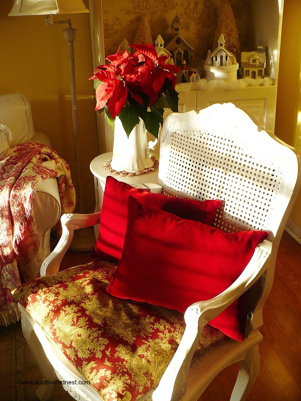Thrifted chair with toile seat and red velvet pillows.