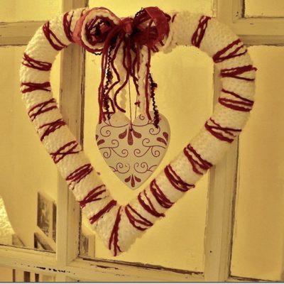 yarn heart wreath