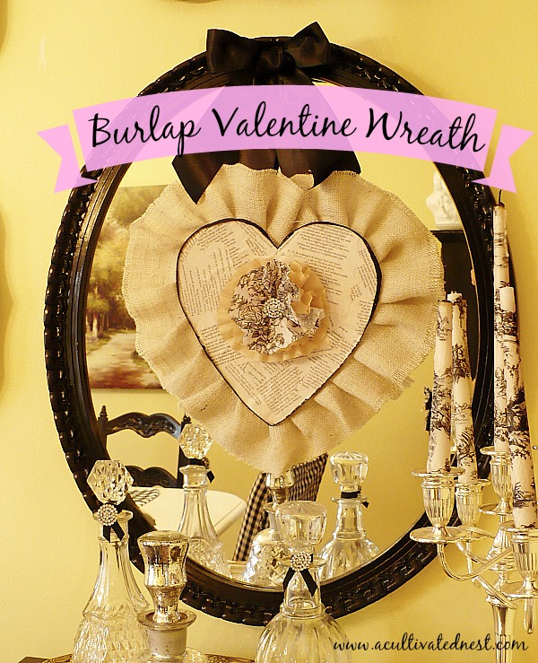 DiY Burlap Heart Wreath for Valentine' Day