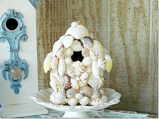 wooden birdhouse covered with shells