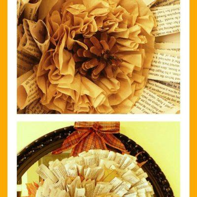 DIY fall book page wreath