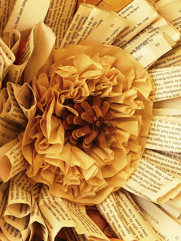 coffee filter center in book page wreath
