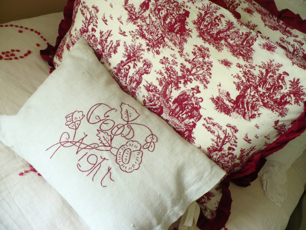 embroidered good night pillow from Mary Jane's Farm