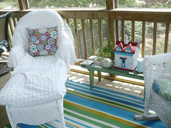 chaise on porch