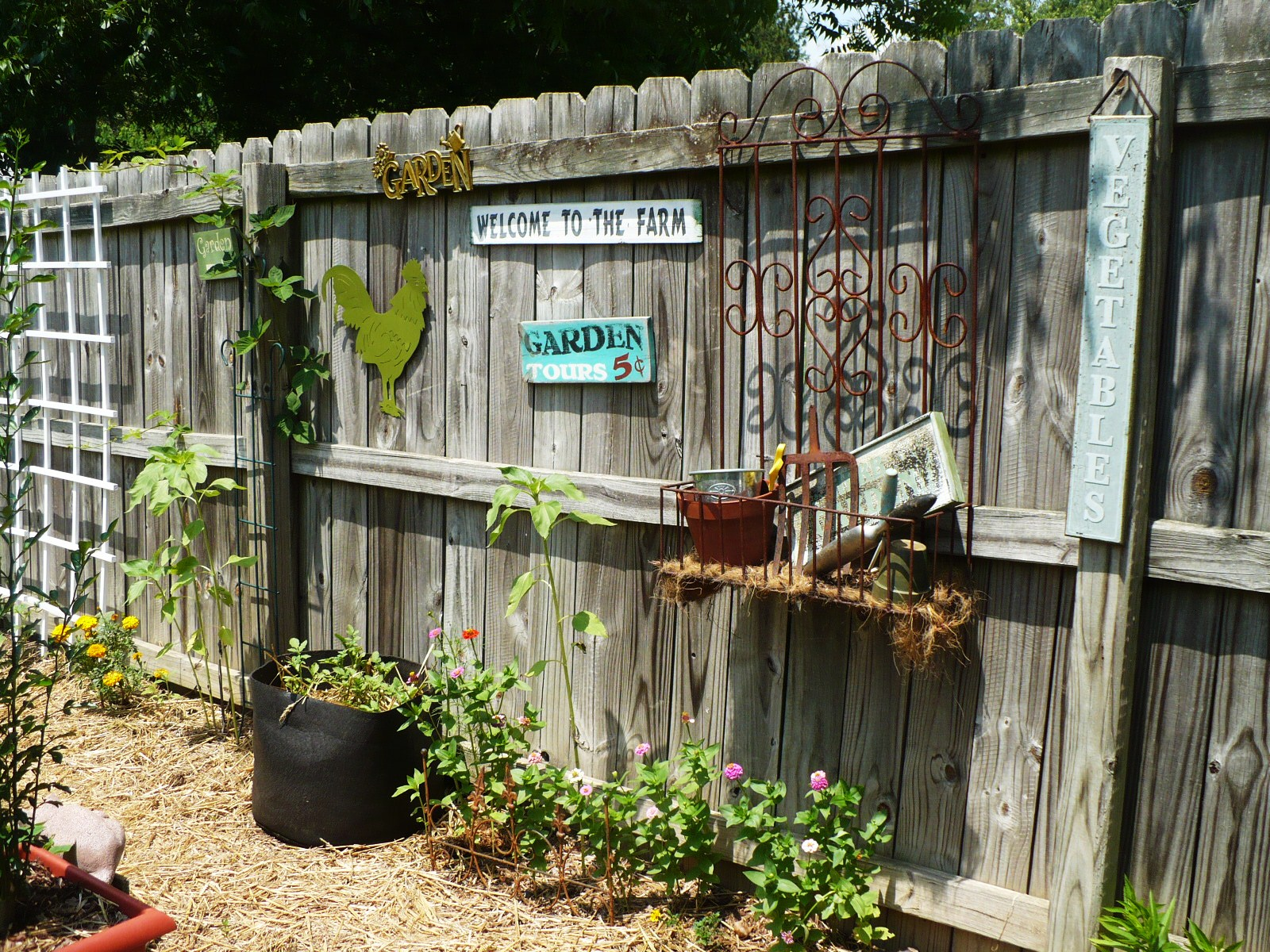 On The Fence - A Cultivated Nest on Backyard Wooden Fence Decorating Ideas id=36087