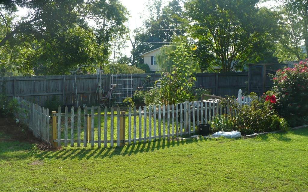 picket fence around a garden