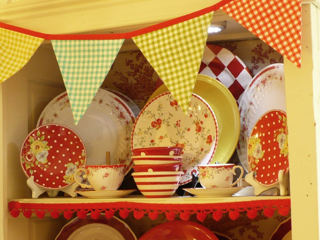 red polka dot plates