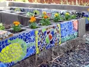 mosaic concrete block raised beds