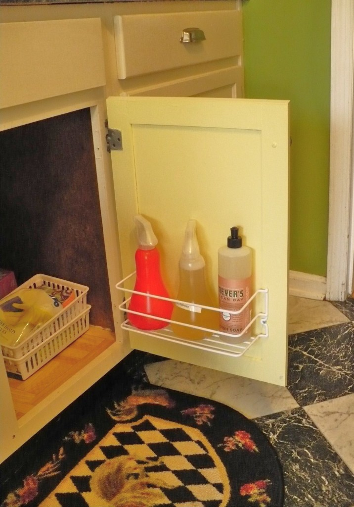 undersink organization with wire door organizer