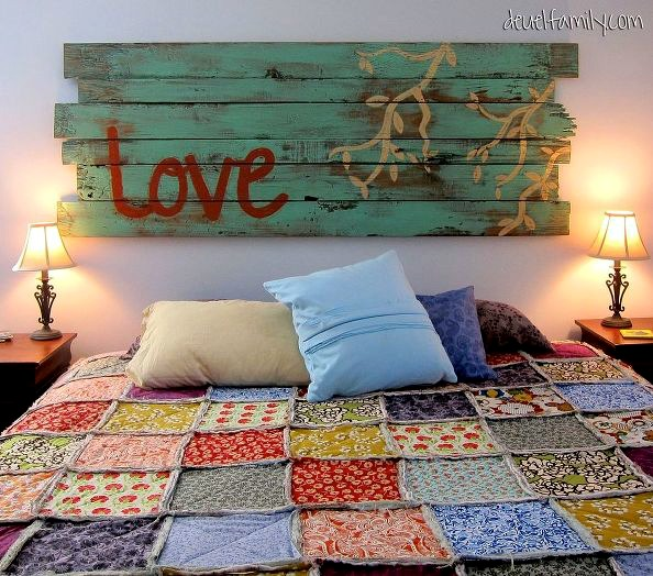 DIY headboard from The Deuel Family Blog
