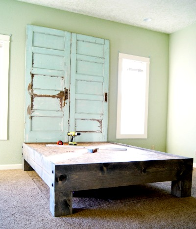 DIY Salvaged door headboard