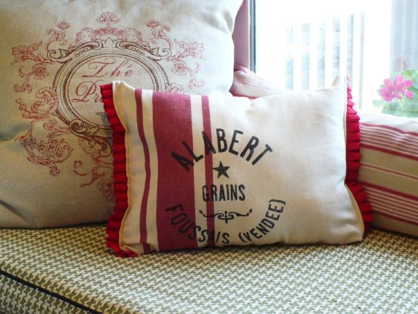 pillow made from Target kitchen towel