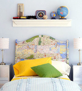 map covered headboard