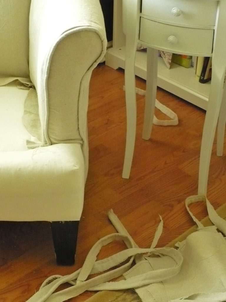 Slip covered arm on wing chair