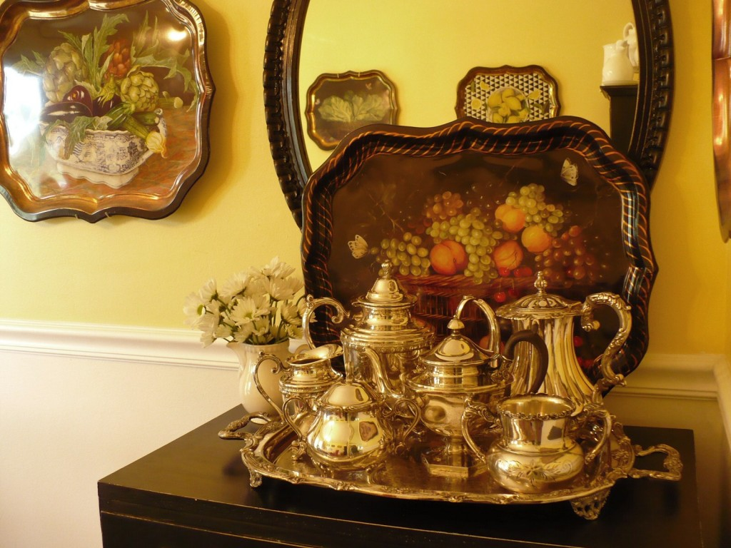 silver teapots and tray with lithographed tole tray