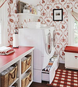 red and white laundry room