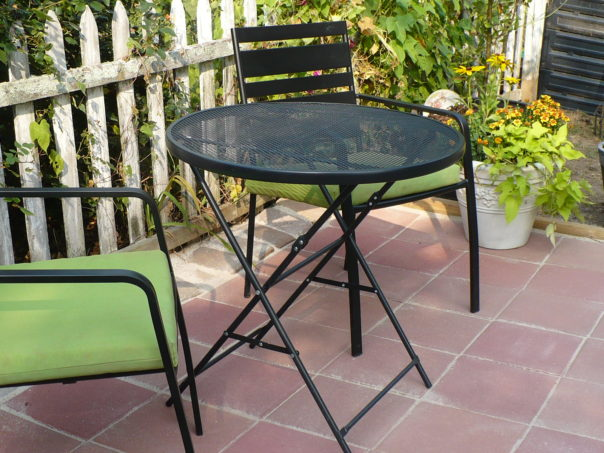 black patio table and chairs
