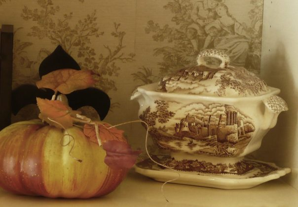 brown transferware soup tureen