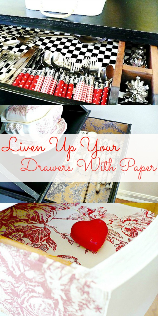 line your drawers with pretty papers