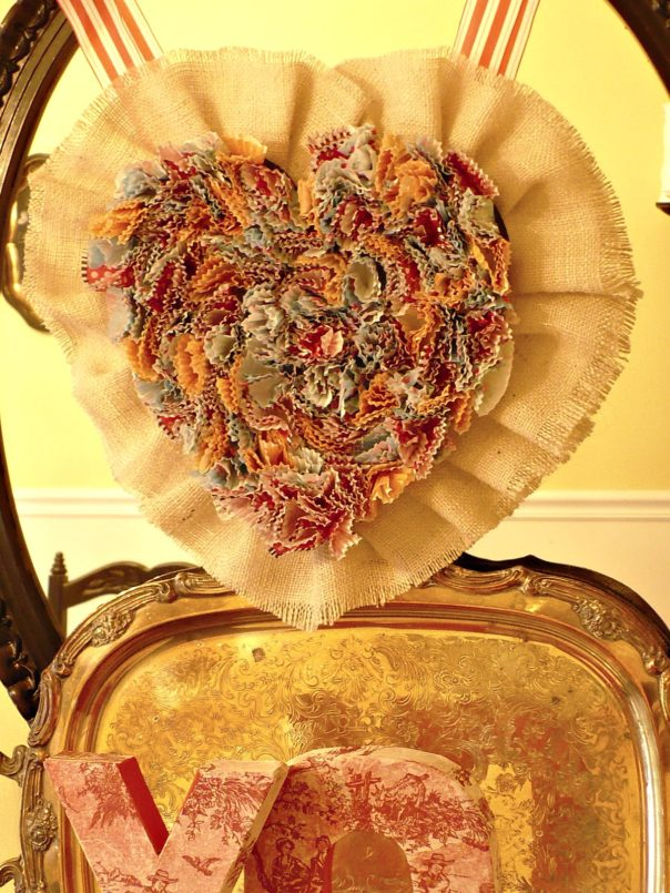 DIY cupcake liner valentine wreath
