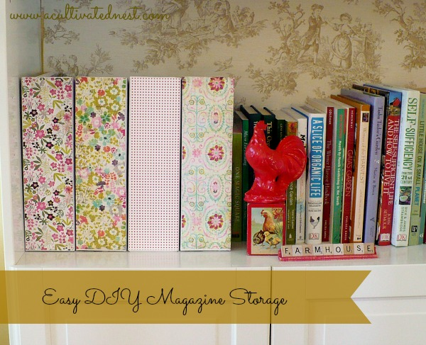 I made some pretty DIY magazine storage boxes from some inexpensive cardboard magazine holders from my favorite store..... IKEA, so they would look nice on my bookcase in the living room.