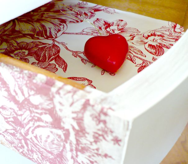 line your drawers with pretty paper