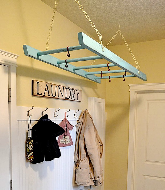 ladder made into a laundry drying rack | Awesome ideas for upcycling old ladders