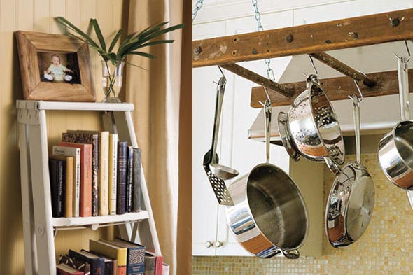 ladder repurposed for books and as pot rack