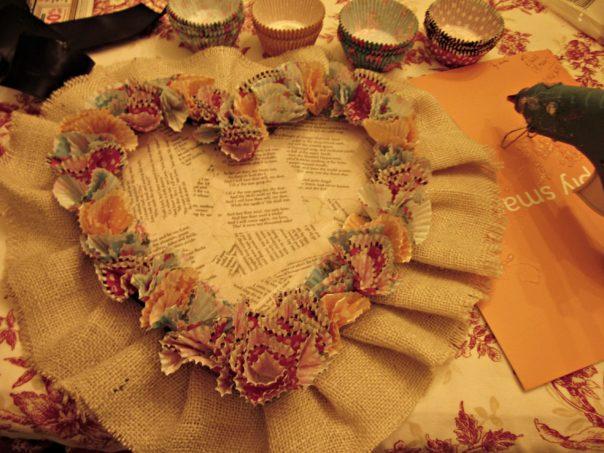 step 1 cupcake liner valentine wreath tutorial