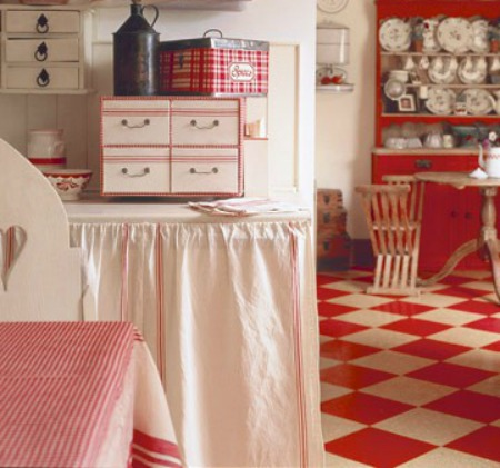 red & white checkerboard floor