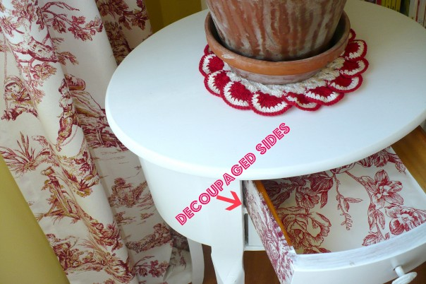 drawer decoupaged with red toile wallpaper