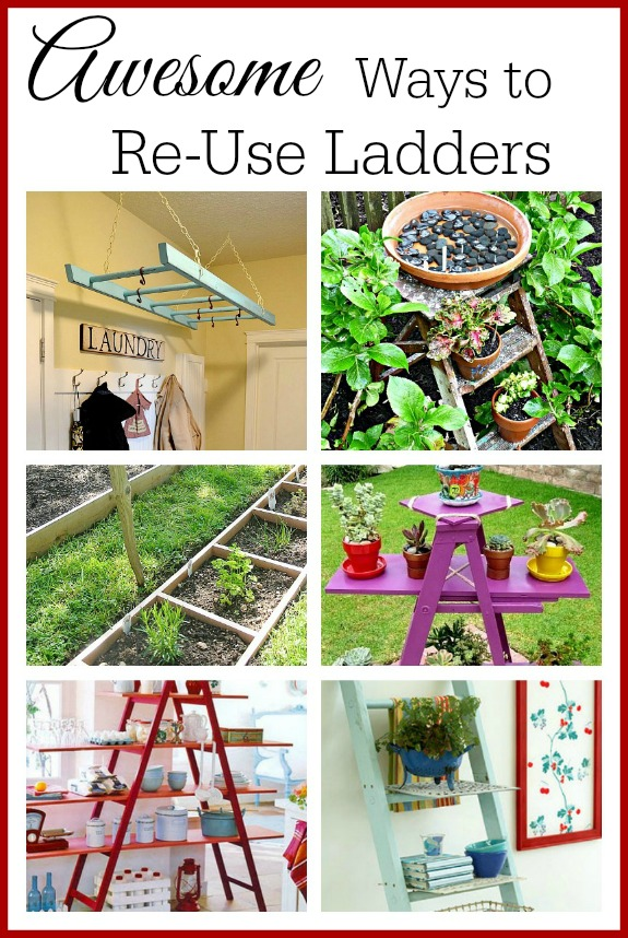 A roundup of awesome ways that you can upcycle old ladders for your home and garden