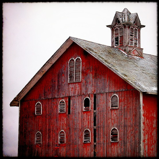 weathered old red barn