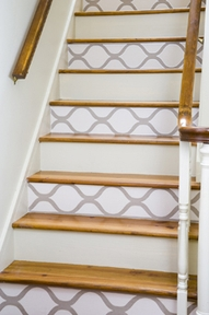 painted geometric design on stairs