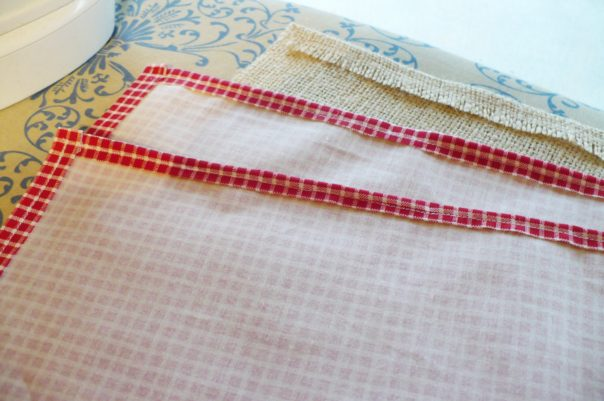 hemmed sides of fabric and burlap