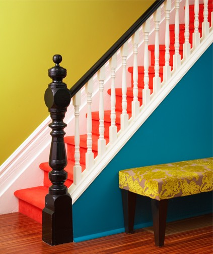 stairs painted red