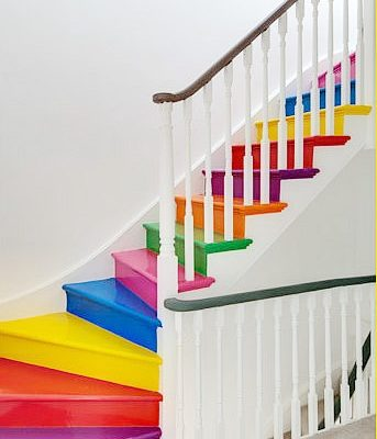 rainbow stairs | Painted Stair Ideas
