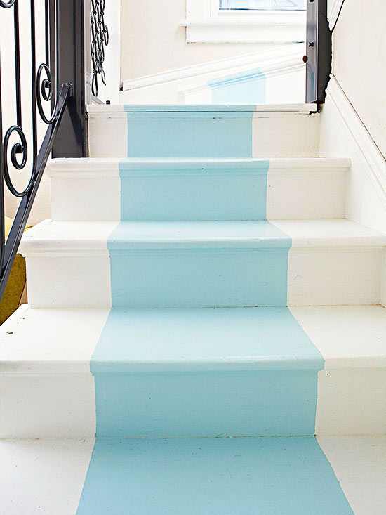 stairs with blue stripe down the middle| Painted  Stair Ideas
