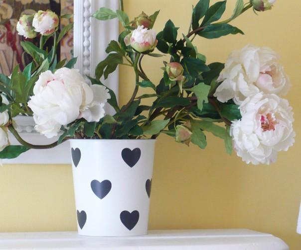 valentine vase with peonies