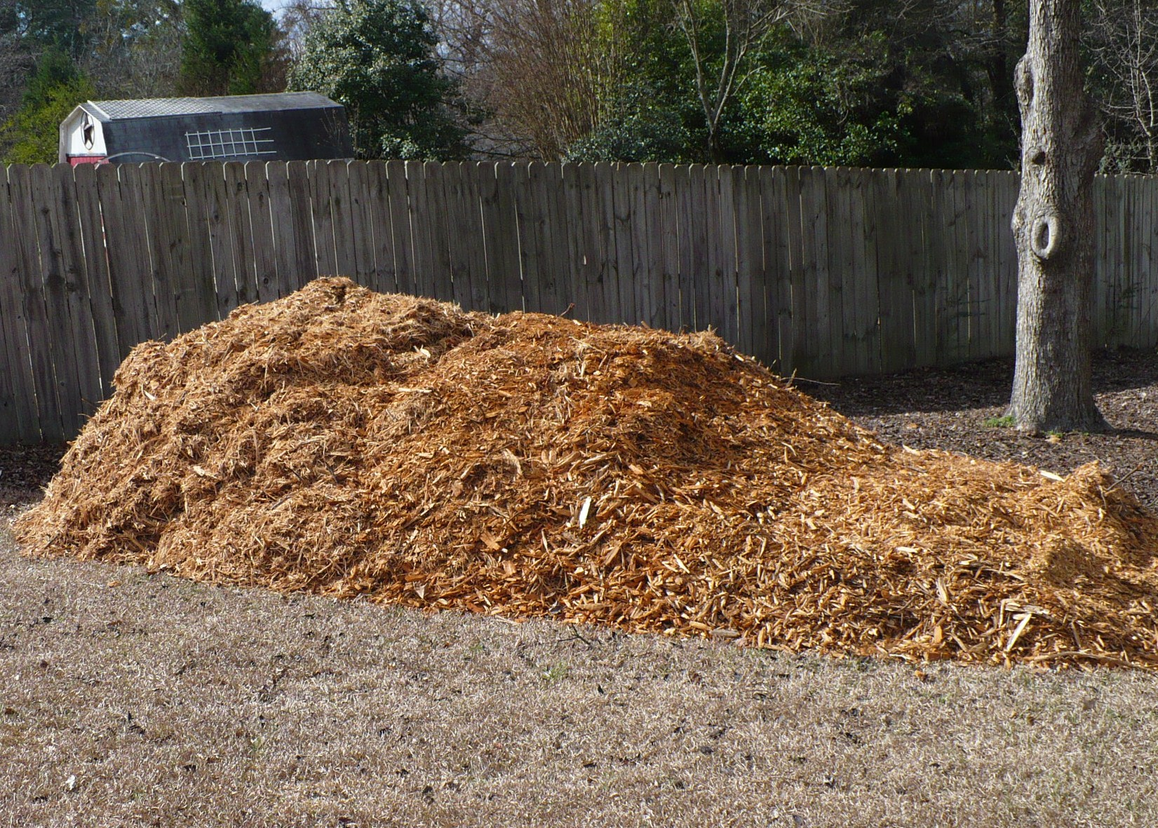 Pile Of Woodchips For A Garden Path